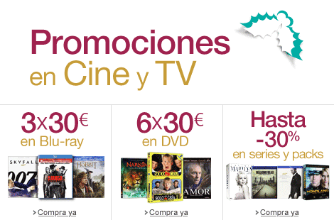 Promociones en Cine y TV (3x30� en Blu-ray, 6x30� en DVD, Hasta -45% en series y packs...)