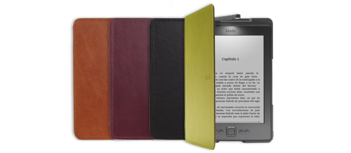 Funda de cuero con luz oficial de Amazon para Kindle