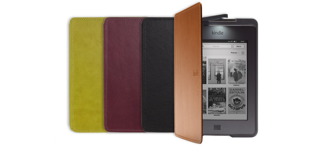 Funda de cuero con luz oficial de Amazon para Kindle Touch