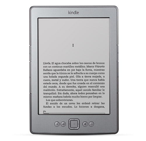 El e-reader Kindle visto de frente