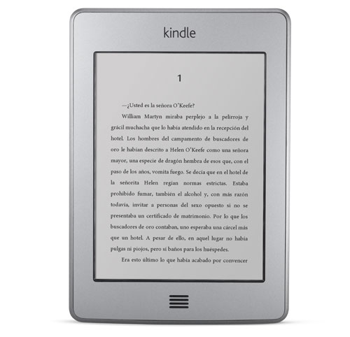 El e-reader Kindle Touch visto de frente