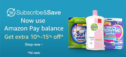 Subscribe & Save| Now use Amazon Pay balance | Get extra 10%-15% off