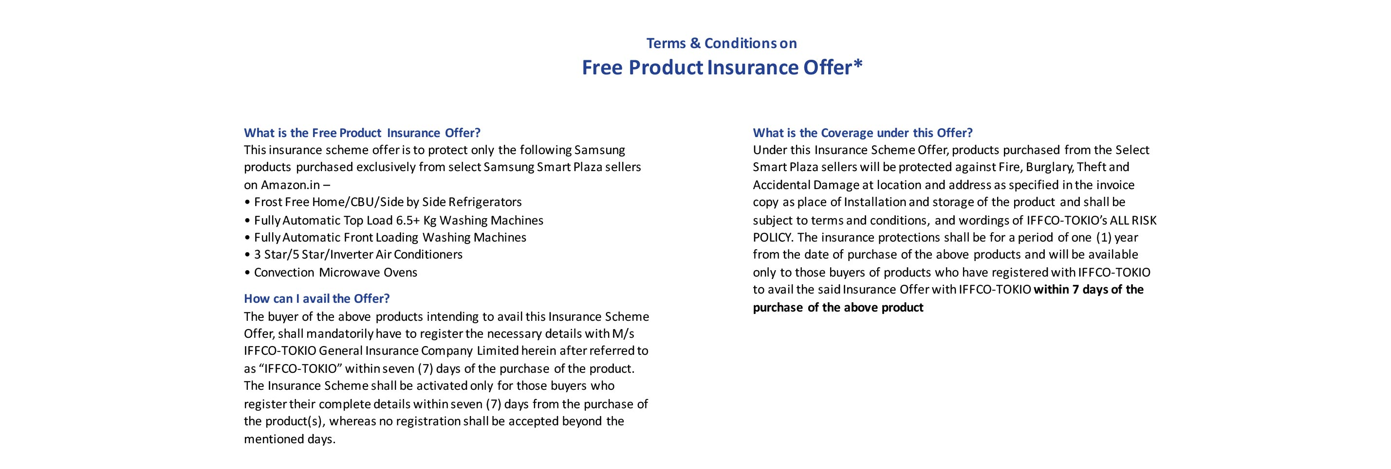 Product Insurance Offer