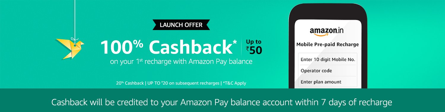 Launch offer - 100% cashback on your first recharge