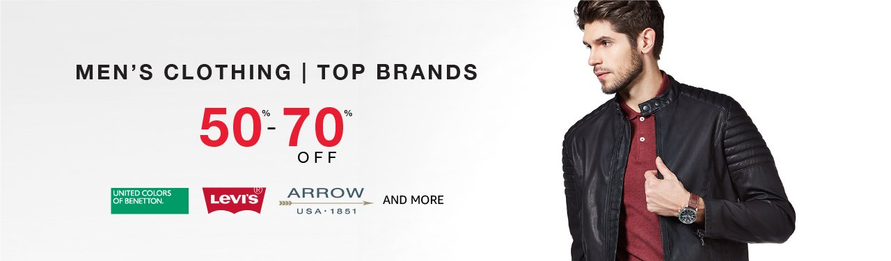 Mens clothing top brands 50% - 70% off