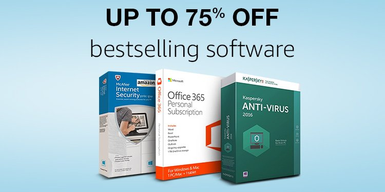 Up to 75% off software bestsellers
