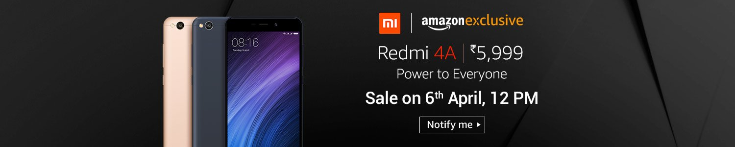 Redmi 4A  Looking to purchase an advanced smartphone that combines design with functionality without denting your wallet? Redmi 4A available exclusively on Amazon.in, enjoy great features such as 5-inch HD display, quad-core Snapdragon 425 processor, 13-megapixel camera, 3120 mAh battery and more.