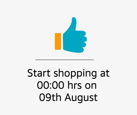 Start shopping on 9th August