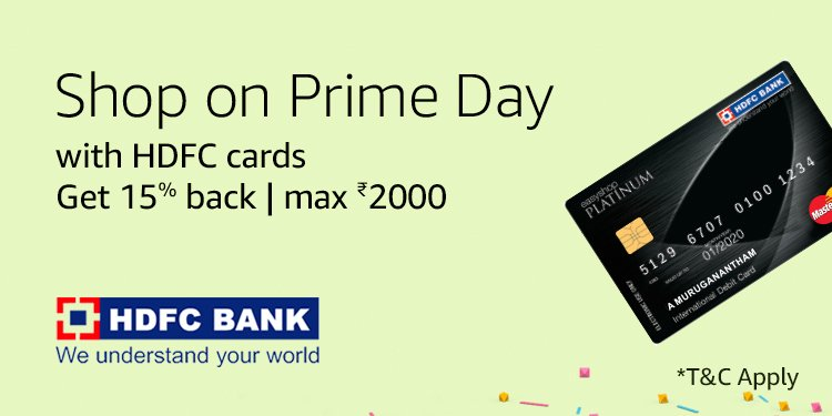 15% cashback with HDFC cards on Prime day