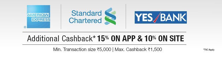 Amazon Offer Of the Day : Additional 15% Cash Back on Standard Chartered, American Experss & Yes Bank Credit Cards and Debit Cards