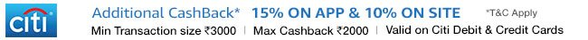 Additional cashback of 15% on app and 10% on site