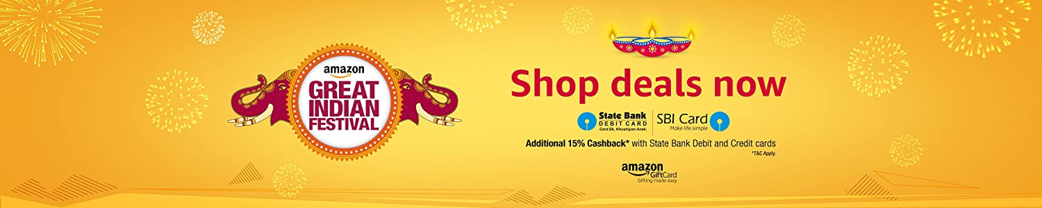 Amazon Great Indian Festival Sale + 15% cashback with SBI cards 25th to 28th Oct – Shop Online at Amazon.in