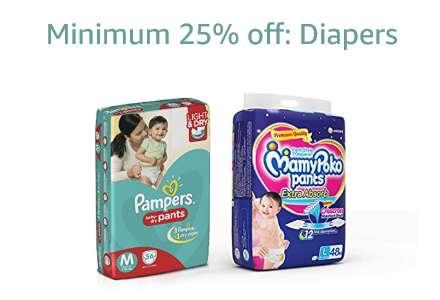 Minimum 25% off: Diapers