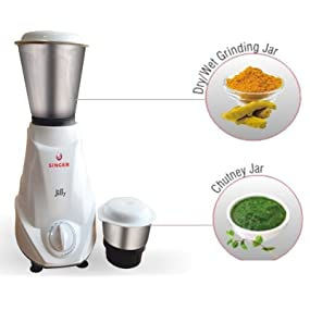 Amazon : Singer Jiffy 500-Watt Mixer Grinder (White) @ Rs.999/- [Lightning Deal]