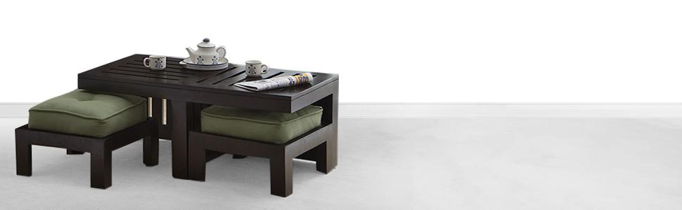 Urban Ladder Kafano Solid Wood Coffee Table Ebony Finish Green Home Kitchen