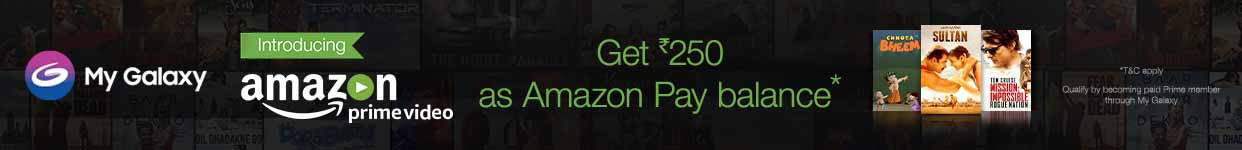 "Samsung Amazon Pay Balance Offer Get Rs.250 as Amazon Pay Balance on purchase of Amazon Prime Video subscription through Samsung My Galaxy App How to avail the offer:  Go to My Galaxy App on your Samsung mobile, click on the banner communicating the Samsung/Amazon Prime Video offer.  Sign in for Amazon Prime Video subscription on your Samsung Device using your existing Amazon account credentials or create a new account.  Customer will be able to purchase the Prime Video subscription after 30 days of free trial, in case the customer has already availed the free trial, they will be eligible to make immediate purchase of Prime Video subscription  Amazon will offer Rs.250 as Amazon Pay Balance within 30 days from purchase of Amazon Prime Video subscription.  Each customer is eligible to receive benefits only once, irrespective of the number of times he signs-in & watches Amazon Video. The offer is also applicable only once per device.  Customer will be eligible for Amazon Pay Balance only if purchase of Prime Video subscription is done within 90 days of completion of the free trial.  Additional Offer Terms & Conditions  This is a limited period offer. Please see full offer terms and conditions below.  This Samsung promotional offer (""Offer"") is provided by Amazon Seller Services Private Limited (""Amazon"") on the mobile application of www.primevideo.com (""Mobile App"").  These offer terms and conditions (""Offer Terms"") are in addition to the Amazon.in Conditions of Use & Sale to which you agree by using the Mobile App and the terms and conditions applicable for Amazon Pay Balance (""Amazon Pay Balance Terms"") issued by QwikCilver Solutions Private Limited (""QwikCilver""). To the extent the Amazon.in Conditions of Use & Sale are inconsistent with these Offer Terms; these Offer Terms will prevail with respect to the Offer only.  This Offer is valid for a period commencing from December 1, 2016 to November 30, 2017 (""Offer Period""), unless revoked or extended by Amazon.in in its sole discretion without any prior notice.  During the Offer Period any person who: (a) signs up for the Amazon Prime Video service through Samsung My Galaxy App; and (b) thereafter becomes a paid member of Amazon Prime Video within 90 days after free trial completion through Samsung My Galaxy App(such person hereinafter referred to as a ""Purchaser""), shall be entitled to receive Amazon Pay Balance worth Rs.250 (""Amazon Pay Balance"") issued by QwikCilver.  This Offer can only be availed by a Purchaser once, i.e. the first time he/ she meets the above eligibility criteria during the Offer Period.  In the event any Customer fails to meet any of the above stated eligibility criteria or any term under these Offer Terms, he/she will not be eligible to receive the Amazon Pay Balance under this Offer.  The Purchaser will be able to purchase the Amazon Prime Video subscription after 30 days of free trial. In case the Purchaser has already availed the free trial, he/ she will be eligible to make immediate purchase of the Amazon Prime Video subscription.  Information with respect to Amazon Pay Balance will be sent to the registered email ID of the eligible Purchaser by Amazon within 30 days of the date of purchase by a Purchaser.  Amazon Pay Balance will expire one year from the date of issuance by QwikCilver. Amazon Pay Balance cannot be used to purchase other Amazon Pay Balance. Amazon Pay Balance cannot be reloaded, resold, transferred for value or redeemed for cash, except to the extent required by law. The Amazon Pay Balance Terms are available at http://www.amazon.in/giftcardtnc.  By participating in this Offer, every Purchaser expressly agrees that Amazon or any of its affiliates will not be liable or responsible for any loss or damage whatsoever that a Purchaser may suffer, directly or indirectly, in connection with this Offer.  Any queries in relation to the Offer should be addressed directly to the customer support at https://www.amazon.in/gp/help/customer/contact-us  Amazon reserves the absolute right to withdraw and/ or alter any of the terms and conditions of this Offer at any time without prior notice.  These Offer Terms are governed by the laws of India. Any dispute arising out of or in connection with the Offer shall be subject to the exclusive jurisdiction of the courts at New Delhi.  Sign-in to the App Now  SPONSOR:  Amazon Seller Services Private Limited, #26/1, Brigade Gateway, 8th Floor, Dr. Rajkumar Road, Malleshwaram West, Bangalore  560 055, Karnataka. Please direct any questions, comments or complaints related to the Promotion to Amazon.in Customer Support.  PRIVACY NOTICE:  All information submitted in connection with this Promotion will be treated in accordance with these Official Rules and the Privacy Notice available at Amazon.in.  FORCE MAJEURE  This Promotion is subject to force majeure circumstances including without limitation, floods, natural disasters, war, act of terror, political unrests, technical snags, act of God or any circumstance beyond the reasonable control of Amazon (""Force Majeure Event""). Amazon shall be not liable for any delay or adverse effect caused to the participants in the Promotion including the winner as a result of a Force Majeure Event."
