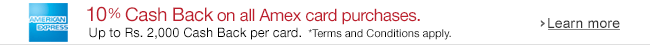 American Express Card Offer on Mobiles - Get 10% Cashback at Amazon.in