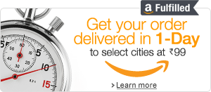 Free Delivery promotion on items fulfilled by Amazon for a limited period. Guaranteed One Day Delivery in select cities at Rs.99