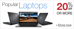 20% off or more on Popular Laptops