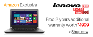 Free additional 2 year warranty worth Rs 4999 on select Lenovo Laptops