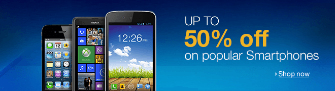 Up to 50% off on popular Smartphones