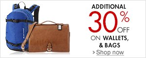 Additional 30% off on Bags & Wallets