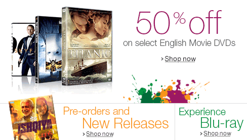 50% off on select English Movie DVDs