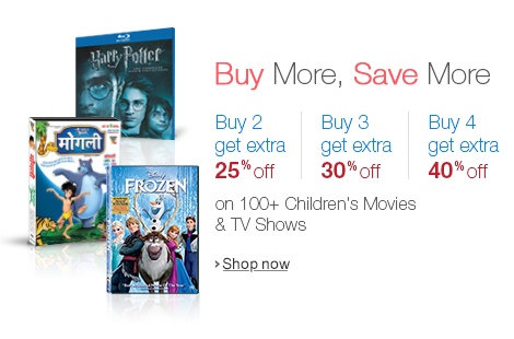 Buy More, Save More - Get up to 40% Extra Off on select Children's DVDs