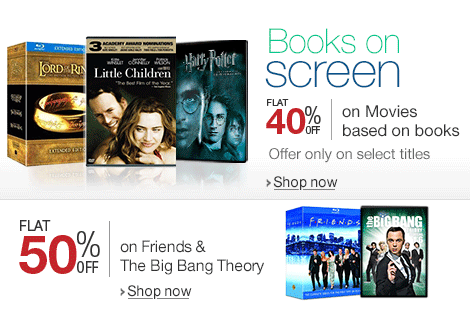 Books on Screen - Flat 40% off on Movies based on Books