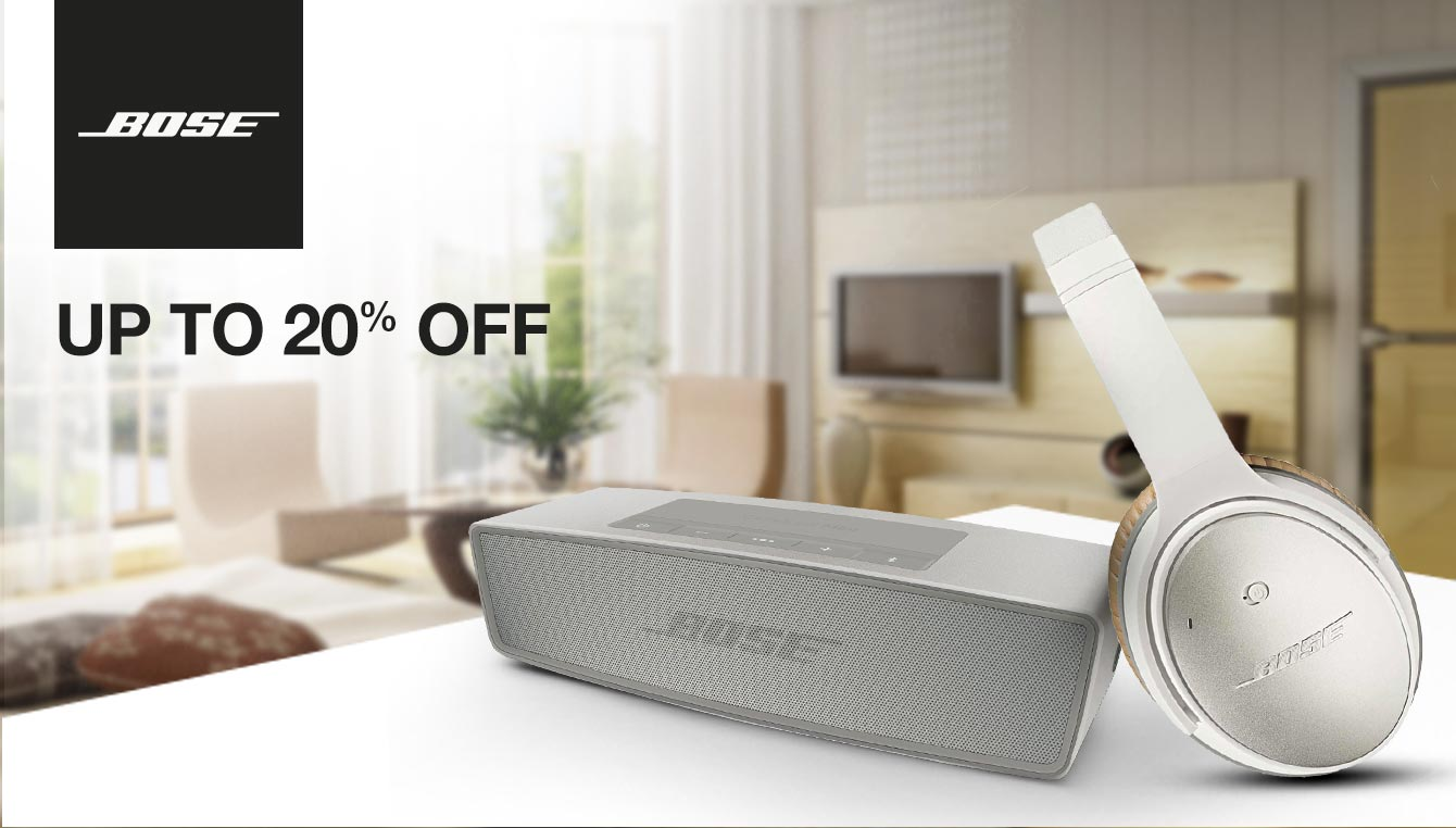 Bose headphones and speakers up to 20% discount