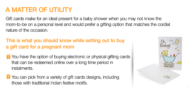 of utility gift cards make for an ideal present for a baby shower