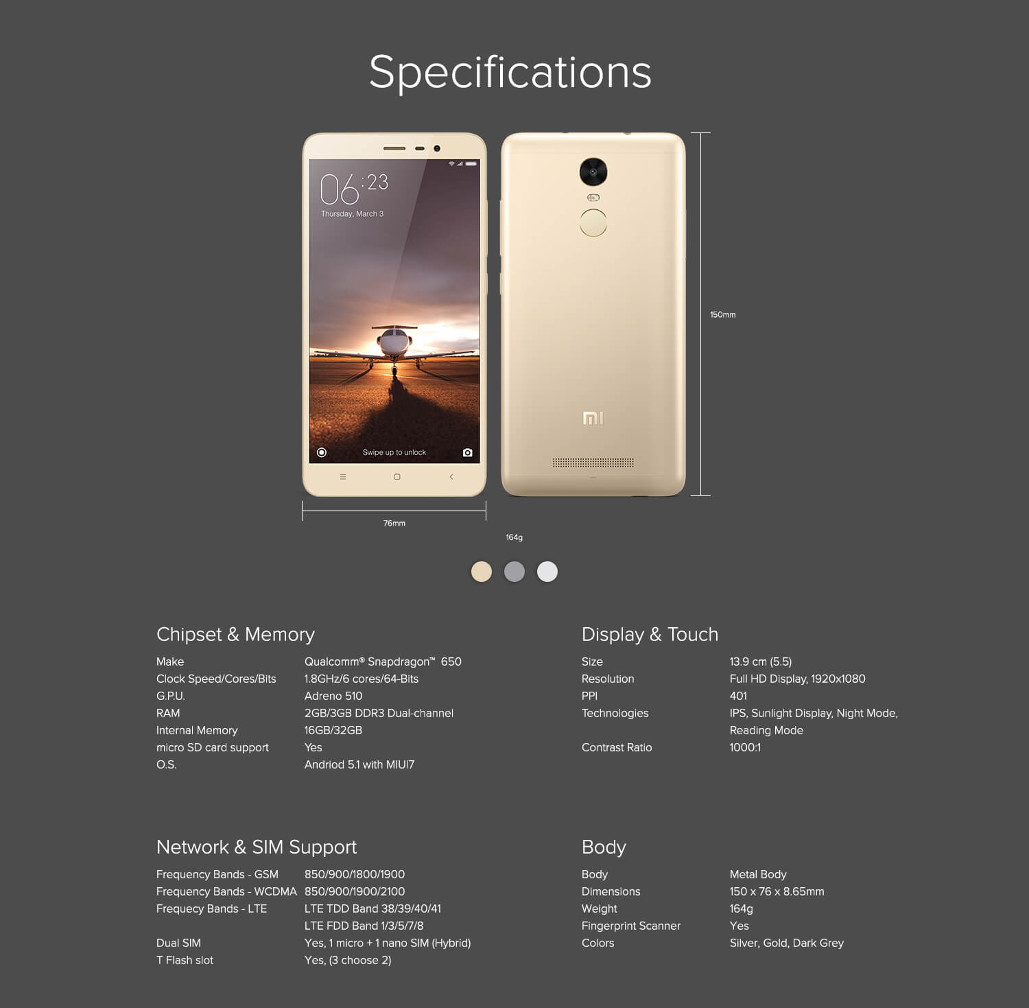 Redmi Tech Specs