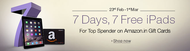 Top Spender on Amazon.in Gift Cards wins a iPad Mini every day