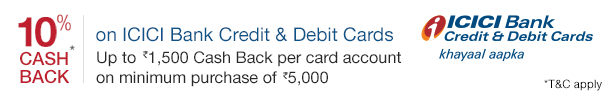 10% cash back on ICICI credit & debit card purchases