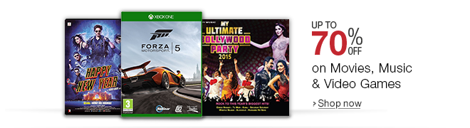 Up to 70% off on Movies, Music & Video Games