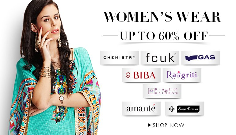 Upto 60% off on Top Brands women clothing at Amazon