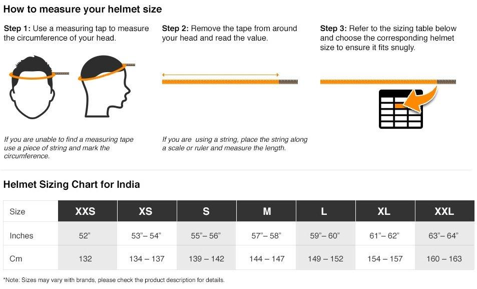 Helmets size chart