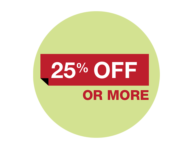 25%off or more