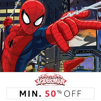 Spiderman: Minimum 50% off