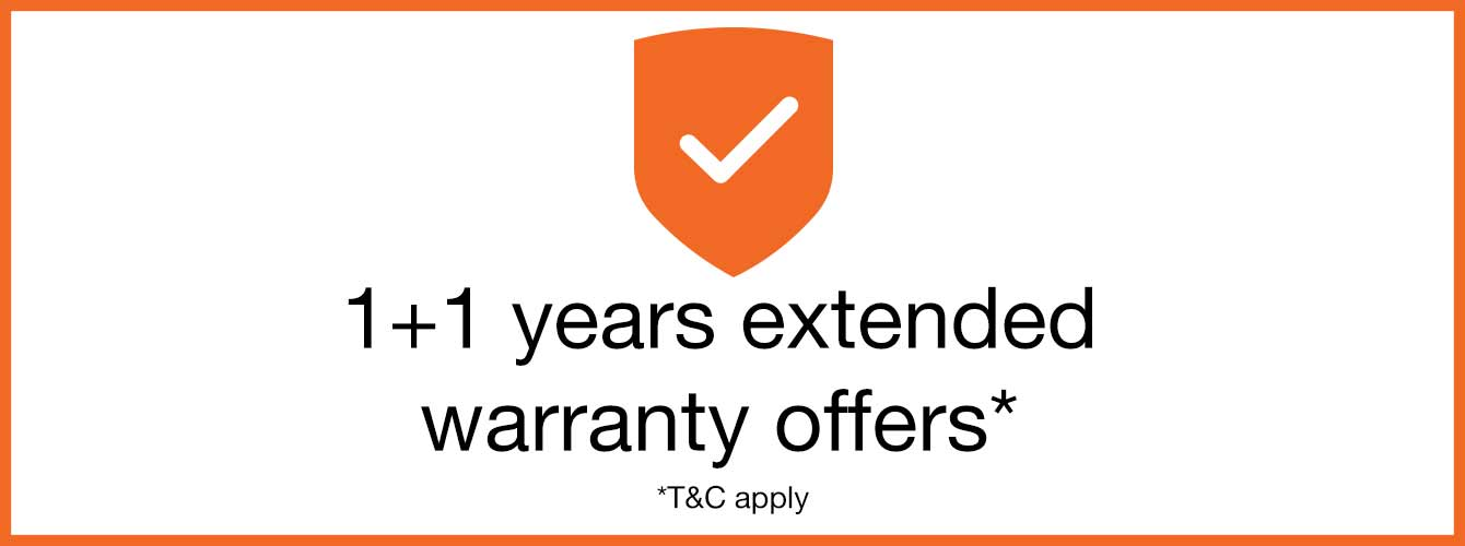 1+1 years extended warranty offers
