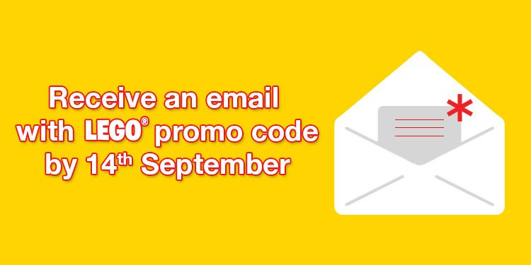 Receive an email with Lego promo code