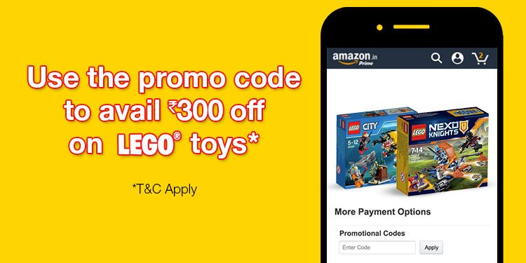 Use the promo code to avail INR 300 off on Lego Toys