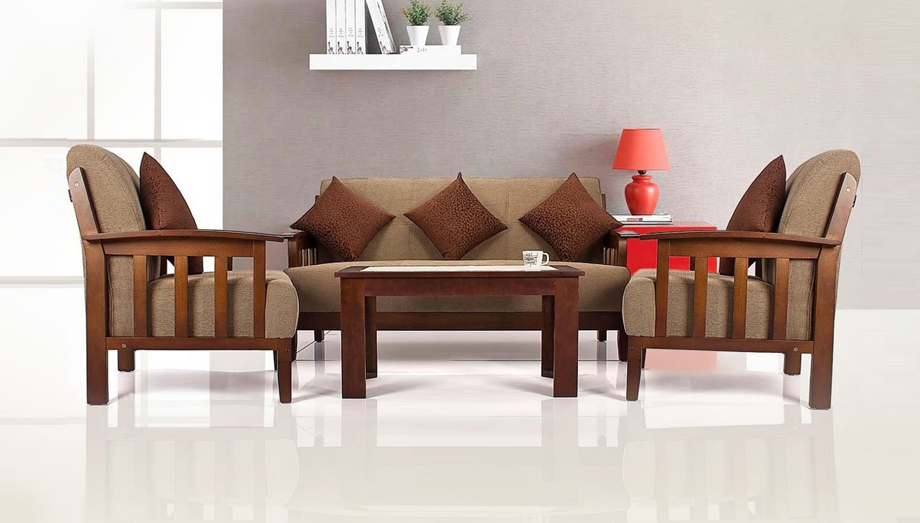Sofas buy sofas couches online at best prices in india for Wooden chairs for living room