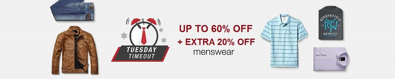 Tuesday Timeout Up to 60% off + extra 20% off