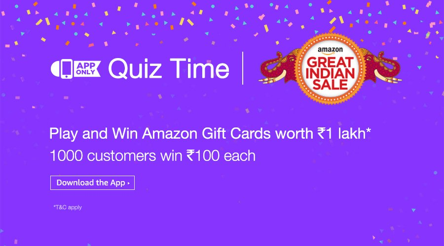 Play and Win Amazon Gift Cards worth Rs. 1 Lakh