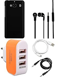 NIROSHA Cover Case Headphone USB Cable Charger for Xiaomi Mi2 - Combo