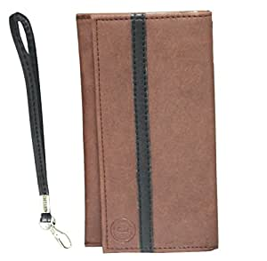 J Cover A5 Nillofer Leather Wallet Universal Pouch Cover Case For Intex Aqua Power 4G Light Brown Black