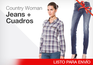 Country woman: jeans + cuadros