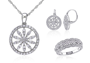 Photo of diamond jewelry from the beauty care section.