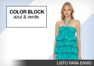 Color block: azul y verde